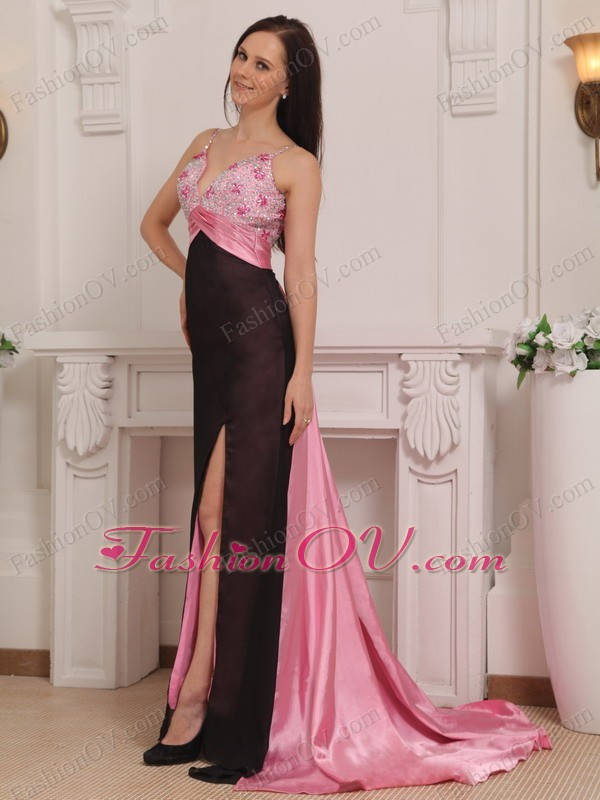 Pink and Black Beading Straps Celebrity Evening Dresses