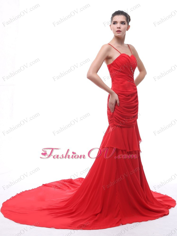 Ruch Spaghetti Straps Red Train Prom Evening Dress Beaded