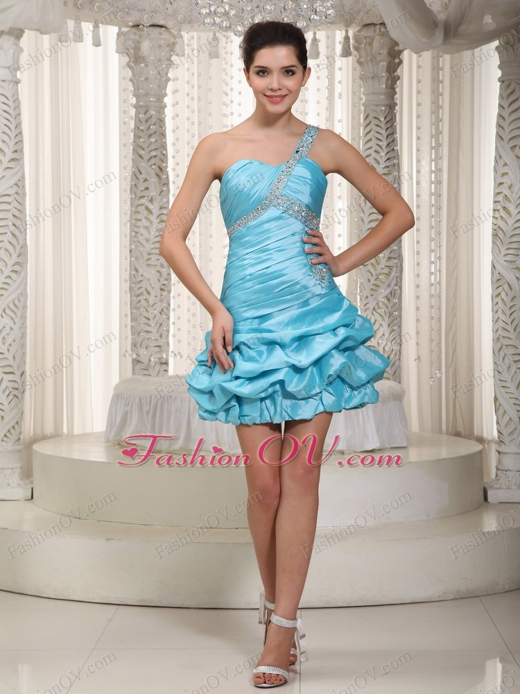 One Shoulder Homecoming Cocktail Dress Mini Beading Aqua