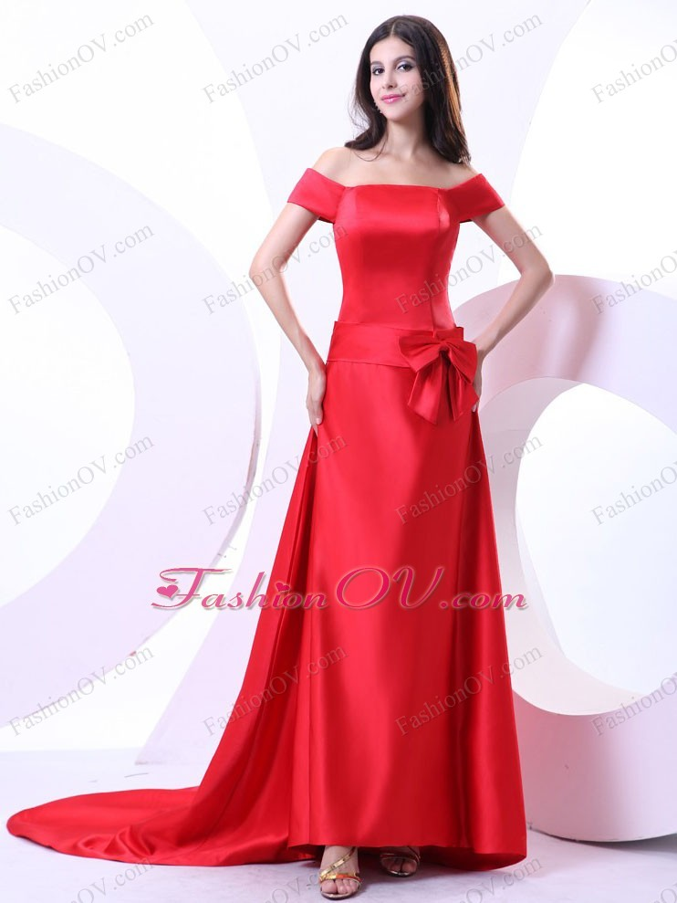 Off the Shoulder Court Train Prom Dress Bowknot Red Satin