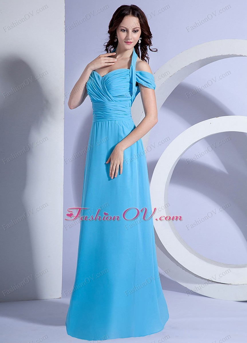 Off Shoulder Halter Top Prom Dress Ruching Aqua Blue