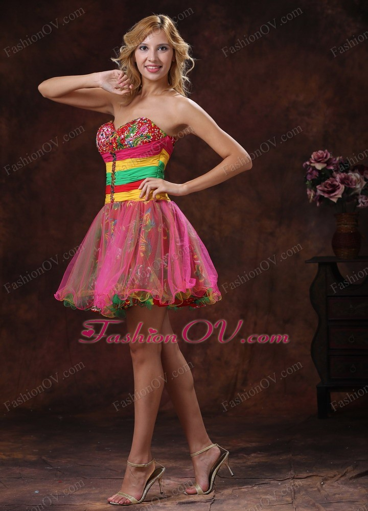 Colorful Cocktail Graduation Dress Mini-length Beaded