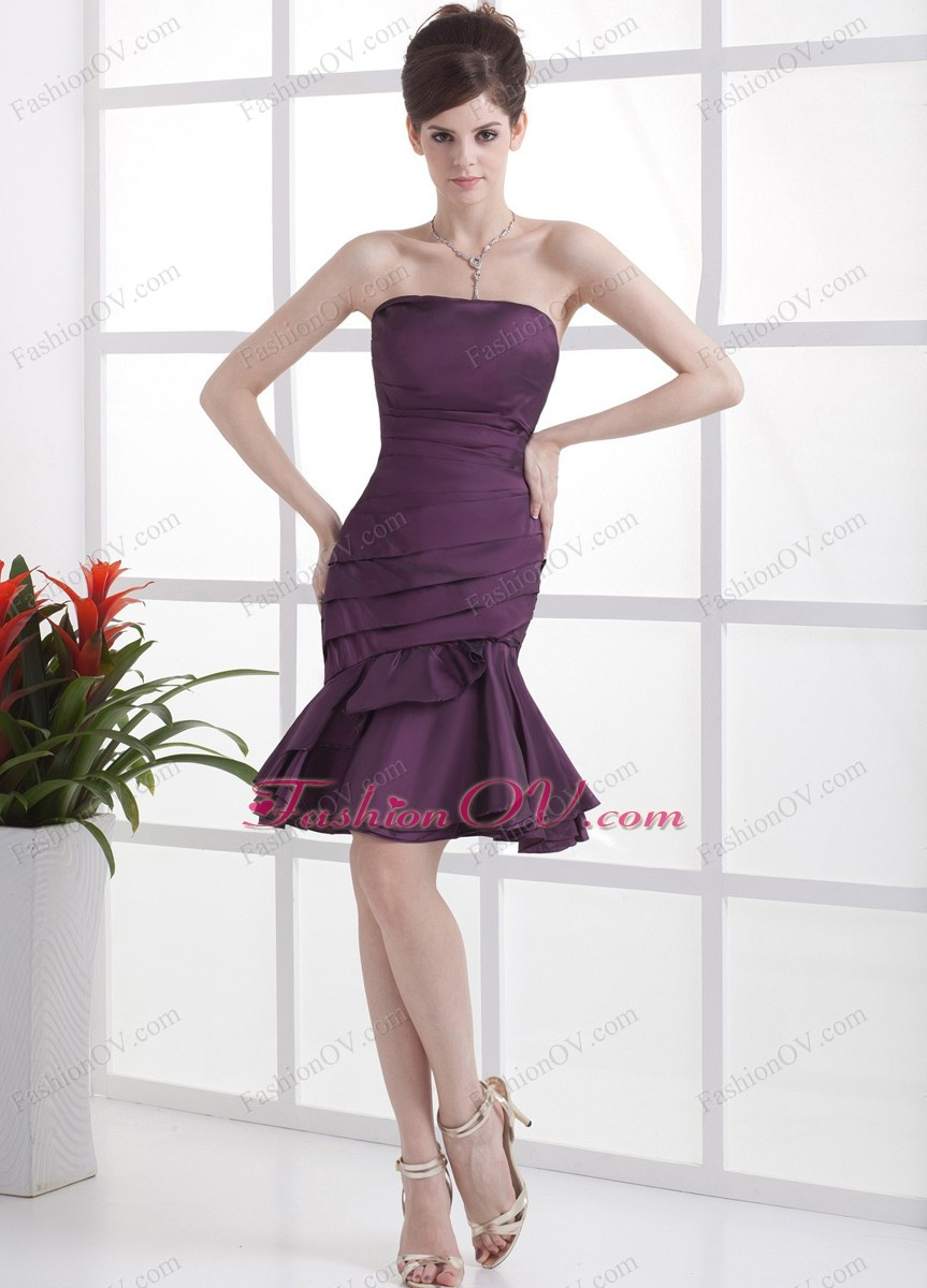 Knee-length Mermaid Prom Cocktail Dress Dark Purple Ruched