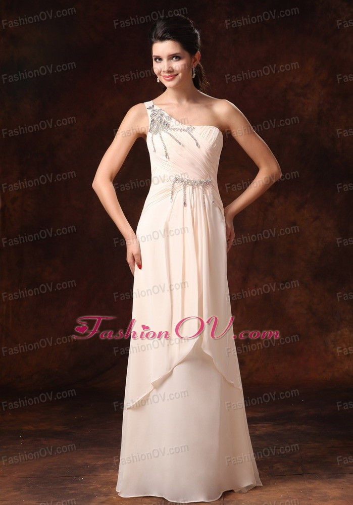 Champagne One Shoulder Chiffon Prom Gowns Beading
