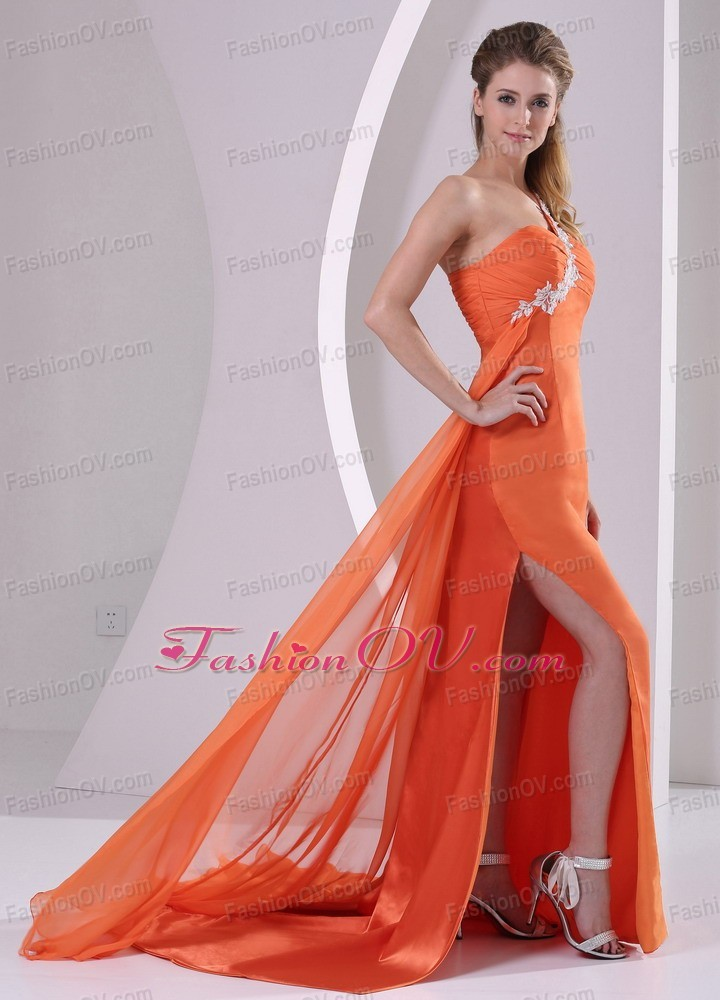 Orange Red One Shoulder Slit Prom Pageant Dress