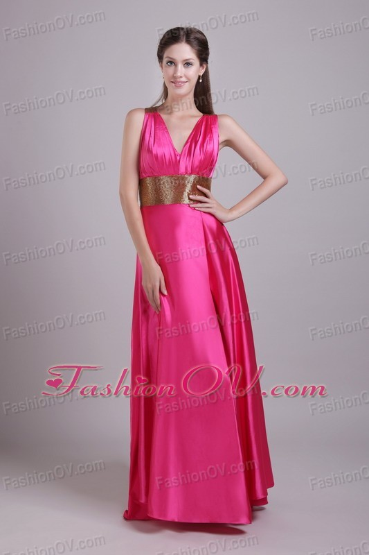 V-neck Hot Pink Evening Celebrity Dress With Sash