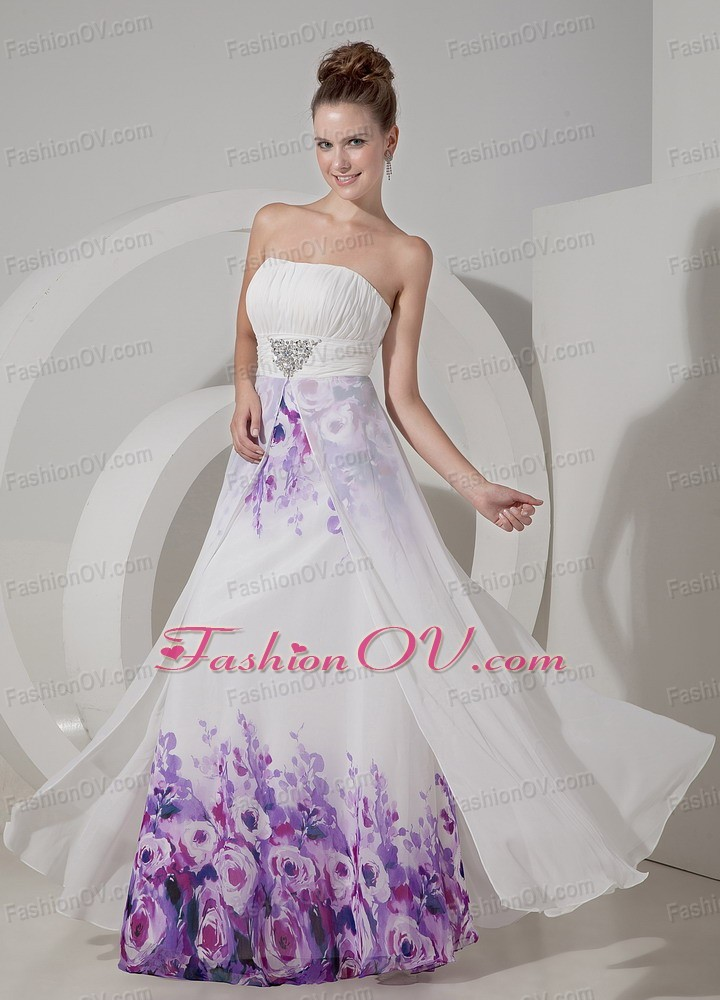 White Strapless Floor-length Printing Beading Pageant Dress