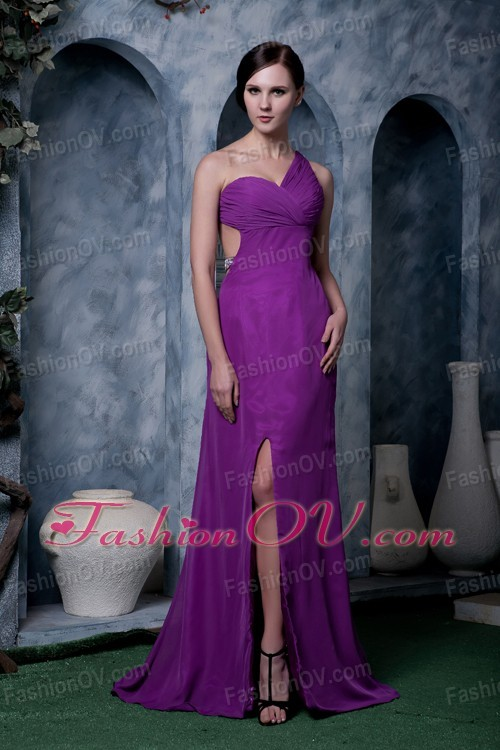 Eggplant Purple One Shoulder Brush Train High Slit Pageant Dress