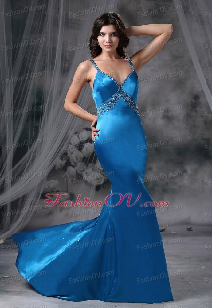 Mermaid Blue Beaded Decorate Straps Bust Prom Evening Dress