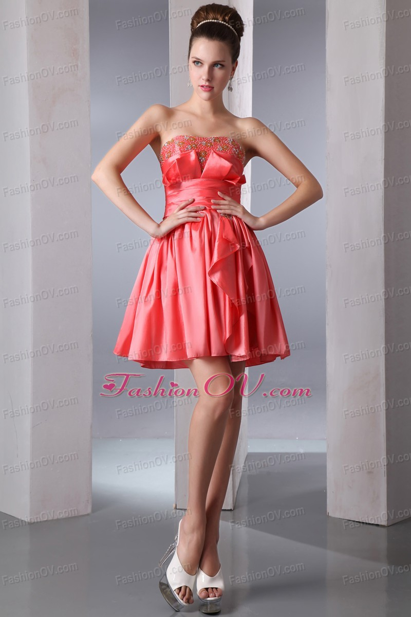 Watermelon Red Prom Homecoming Dress Strapless