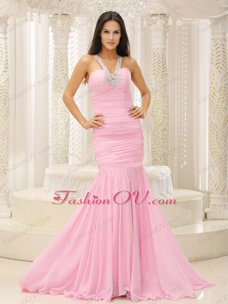 Mermaid Pageant Evening Dress V-neck Beaded Ruched Baby Pink