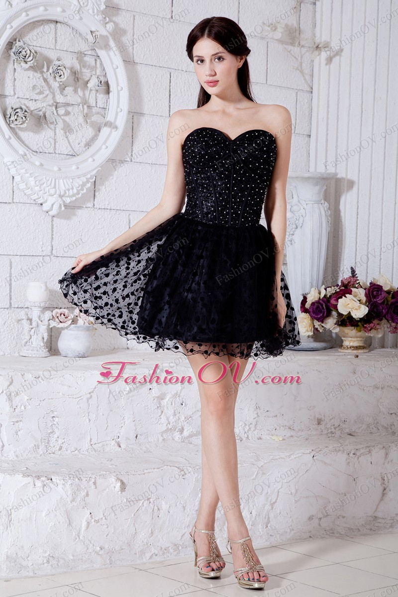 Special Fabric Prom Little Black Dress Sweetheart Mini-length