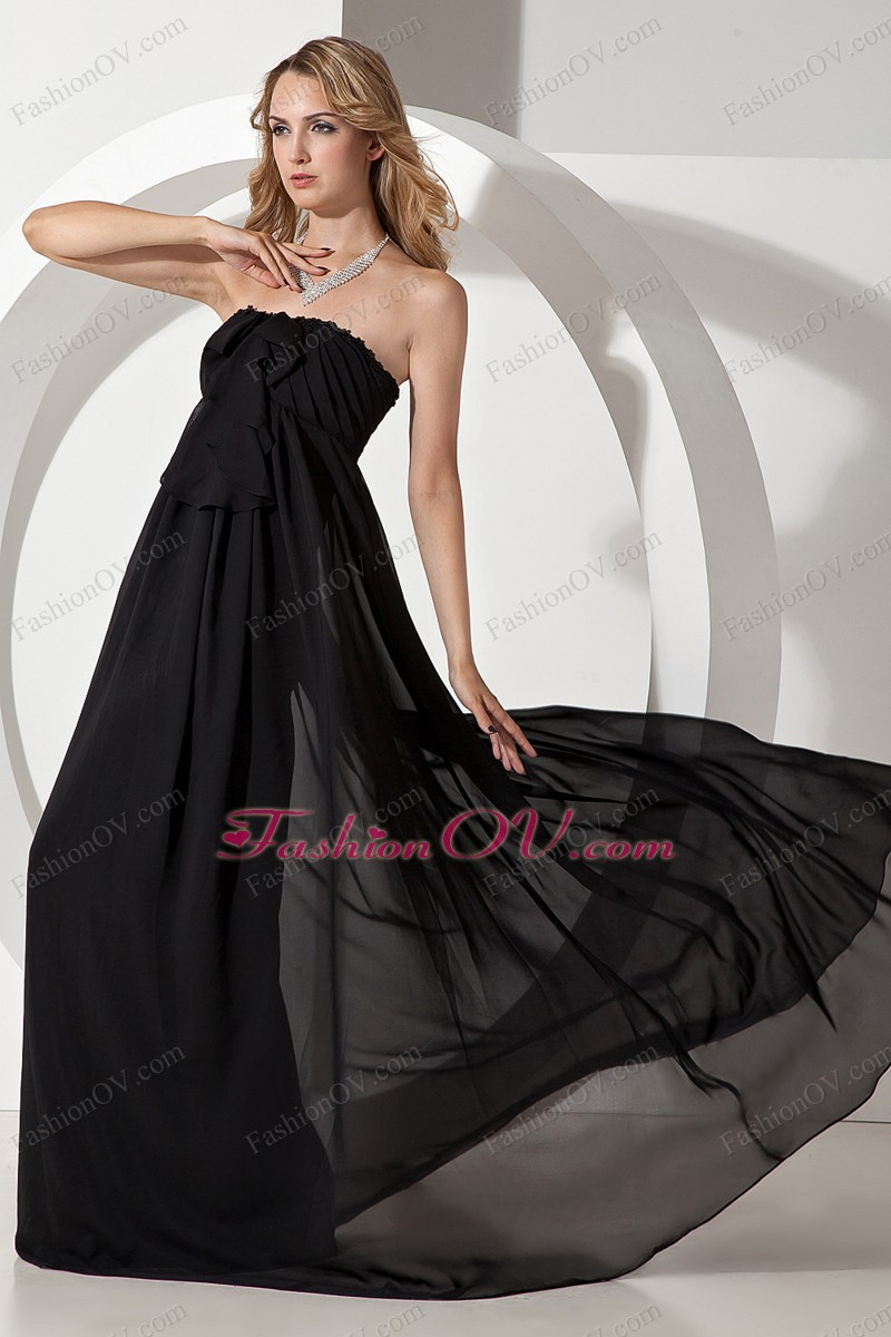 Strapless Prom/Maxi Dress Black Chiffon Beading Empire Ruched