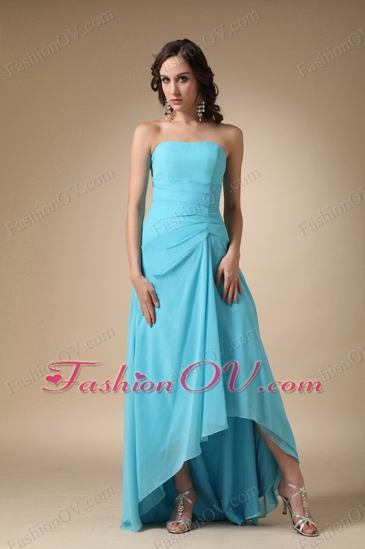 Asymmetrical Bridesmaid Dress Blue A-line Strapless Ruched