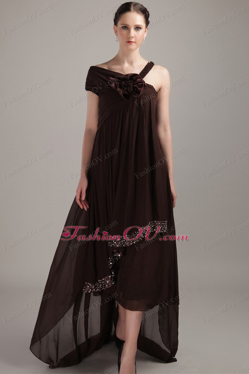 Brown Asymmetrical Maxi/Celebrity Dress Chiffon Beading High-low