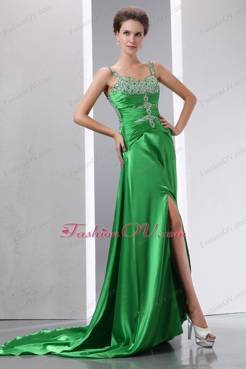 Pageant Celebrity Dress Green Court Train Beading Straps