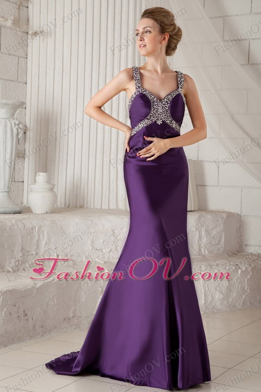 Prom Pageant Dress Purple Mermaid Brush Train Beading Straps