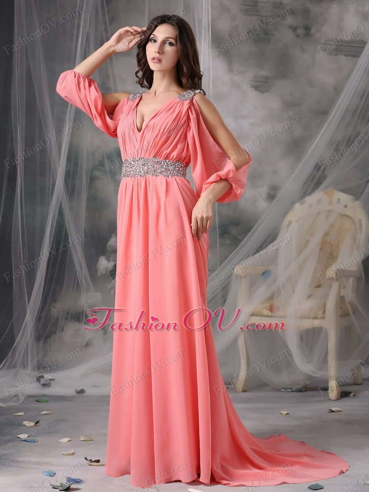 Chiffon Prom/Maxi Dress Watermelon V-neck Court Train Beading