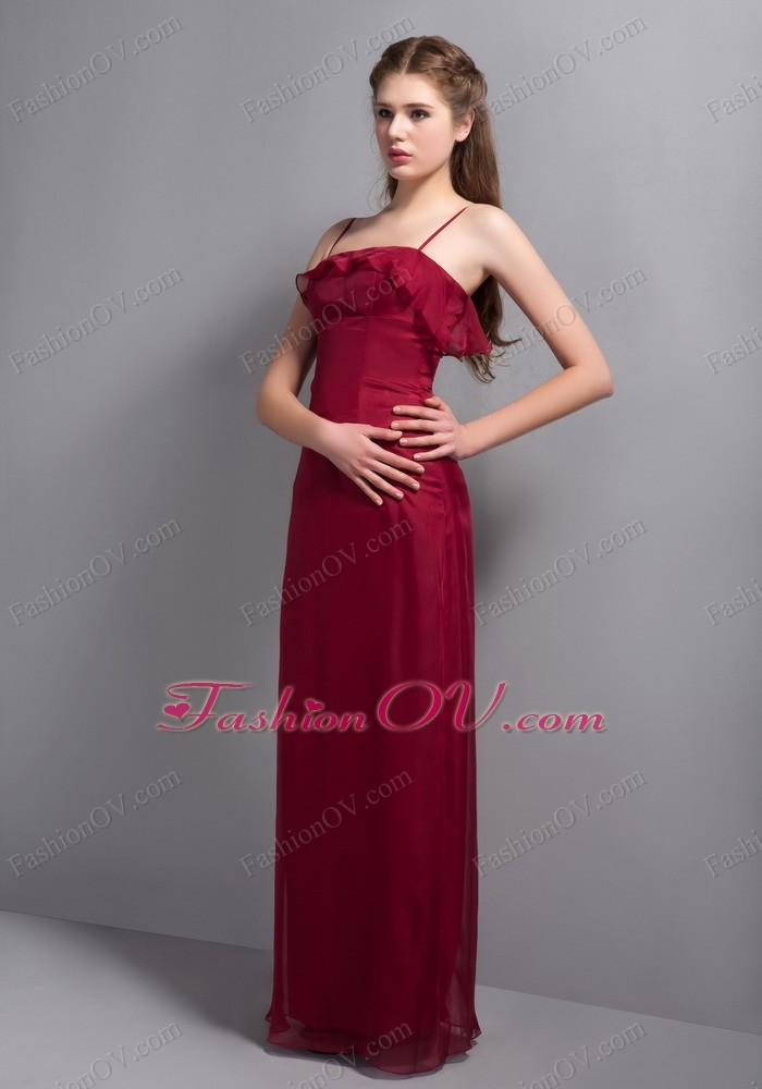 Wine Red Straps Chiffon Chief Bridesmaid Dress - $145.79