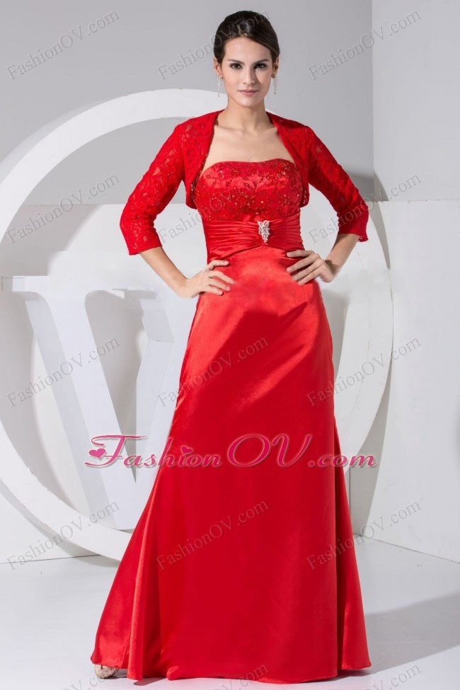 Beading and Embroidery Decorate Bodice Red Prom Dress