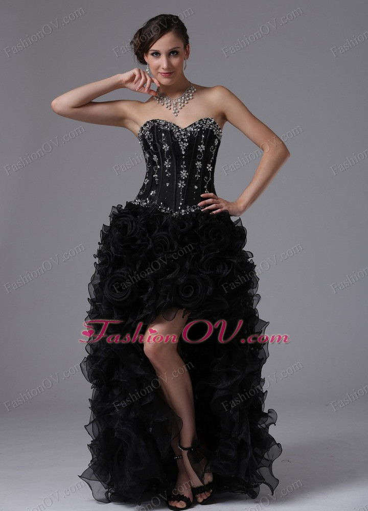 High-low Beaded Bodice and Ruffles Black Pageant Evening Dress
