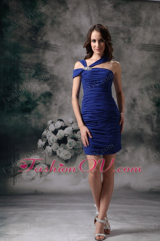Blue Asymmetrical Mini-length Chiffon Nightclub/Graduation Dress