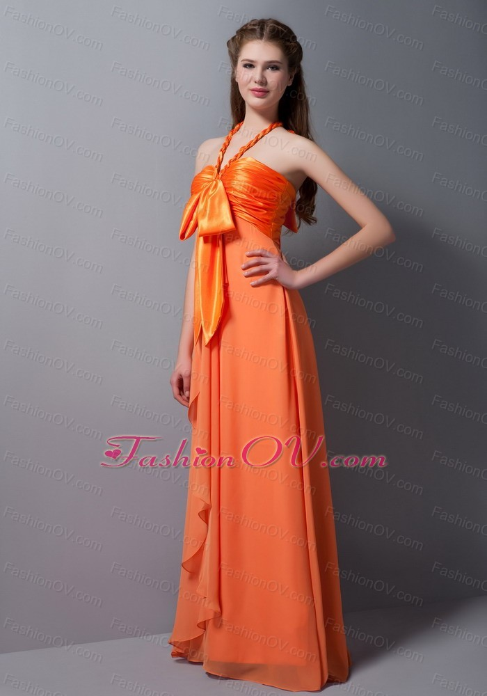 Orange Empire Halter Bridesmaid Dress Taffeta and Chiffon with Bow