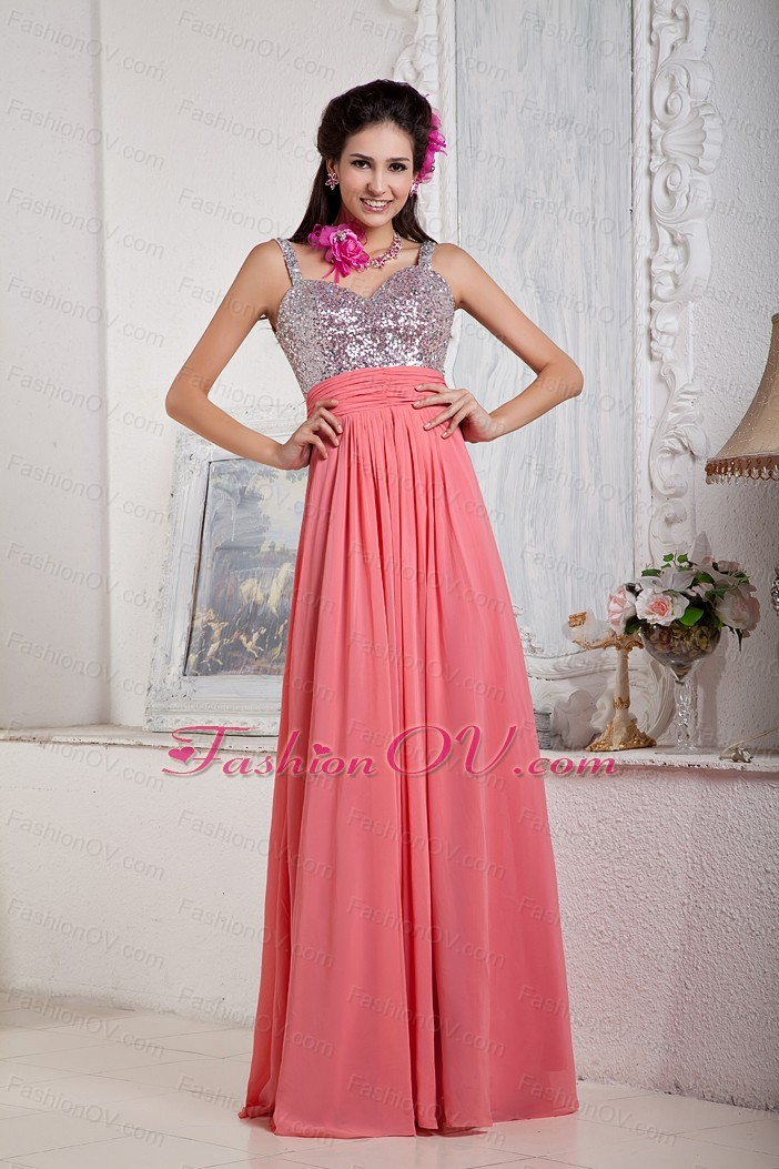 Watermelon Prom Pageant Dress Silver Sequin Straps Floor-length