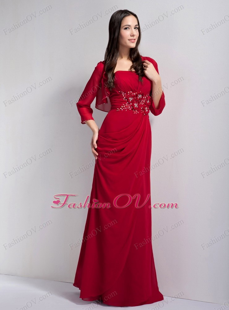 Strapless Chiffon Beading Blood Red Mother of the Bride Dress ...