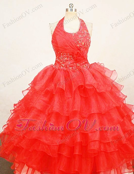 Little Girl Pageant Dresses Beaded Red Halter Organza Ruffles