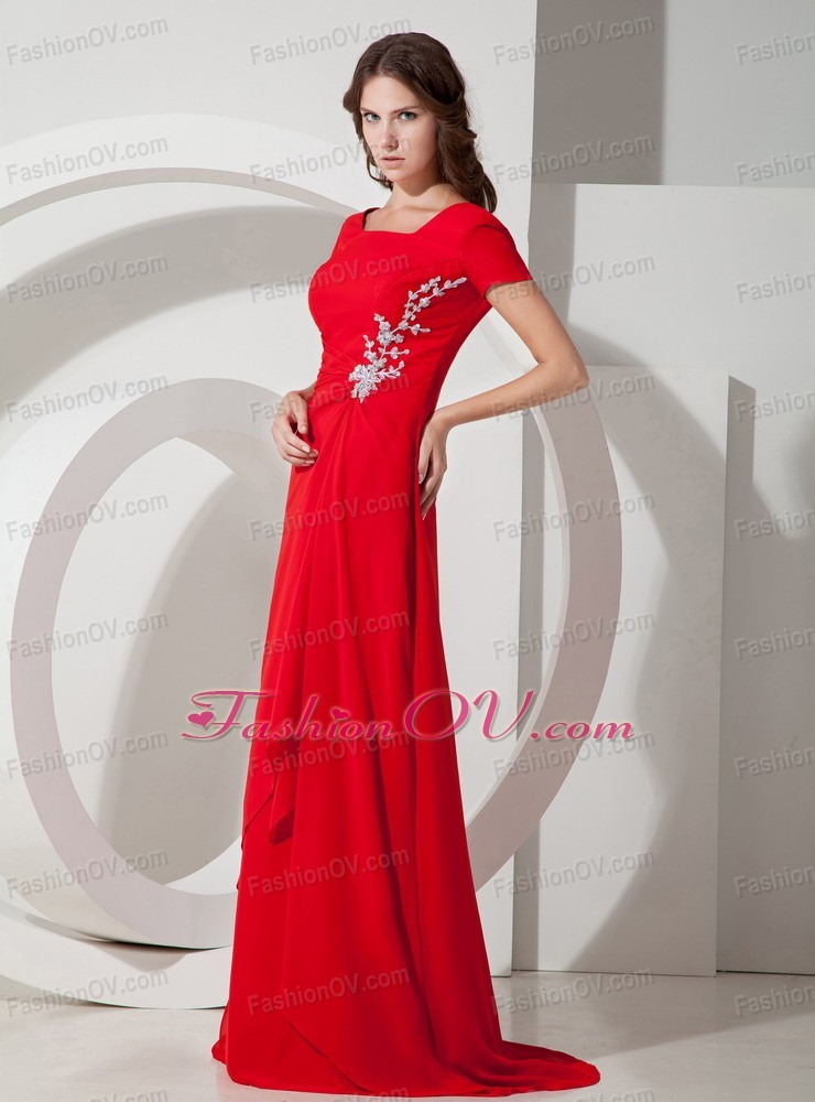 Red Square Appliques Mother Of Bride Dress Brush Chiffon