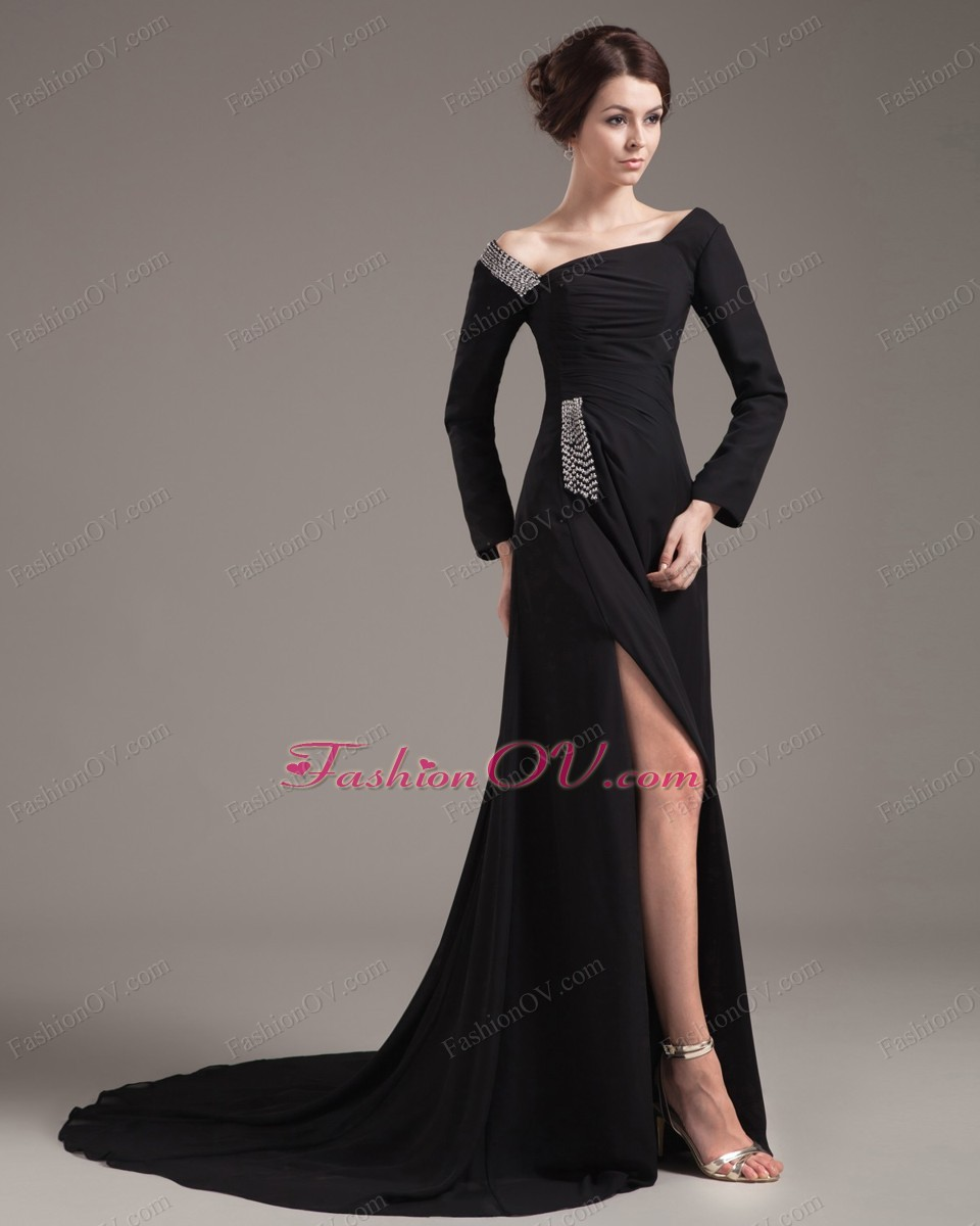 High Slit Asymmetric Black Long Sleeves Mother of Bride Dress