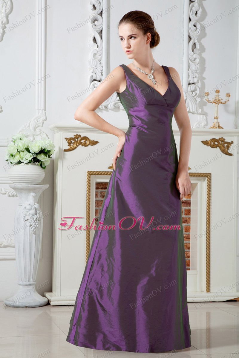 V-neck Taffeta Purple Chief Bridesmaid Dress Ruching - $148.69