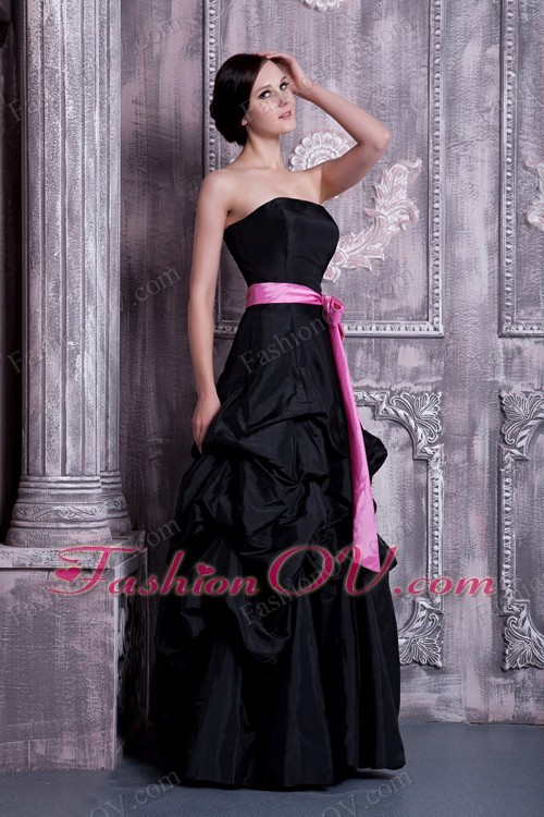 A-line Strapless Bridesmaid dress Black Sash Pick-ups