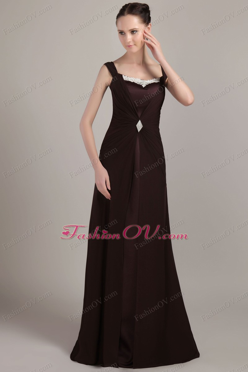 Mother Of The Bride Dress Brown Brush Appliques Square