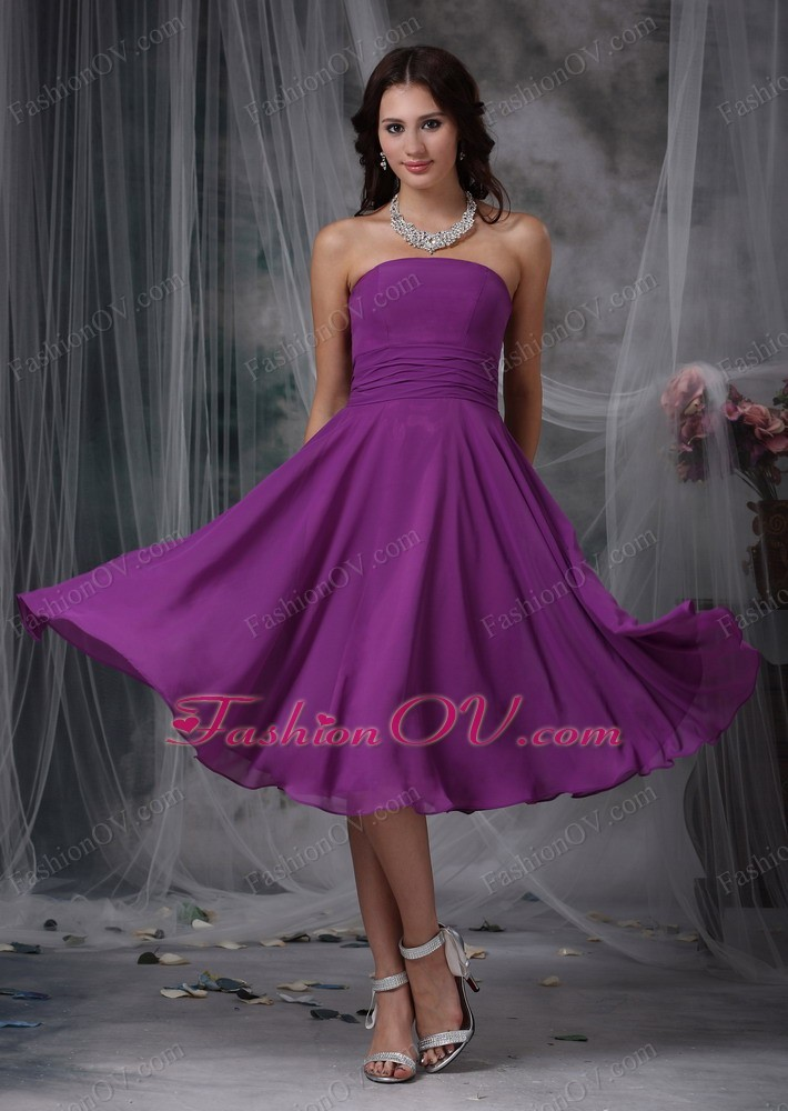 Purple Ruched Bridesmaid dress Chiffon Strapless Tea-length