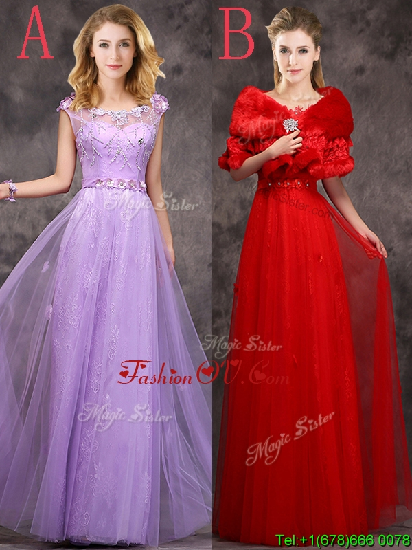 Discount Beaded and Applique Cap Sleeves Long Bridesmaid Dress in Tulle