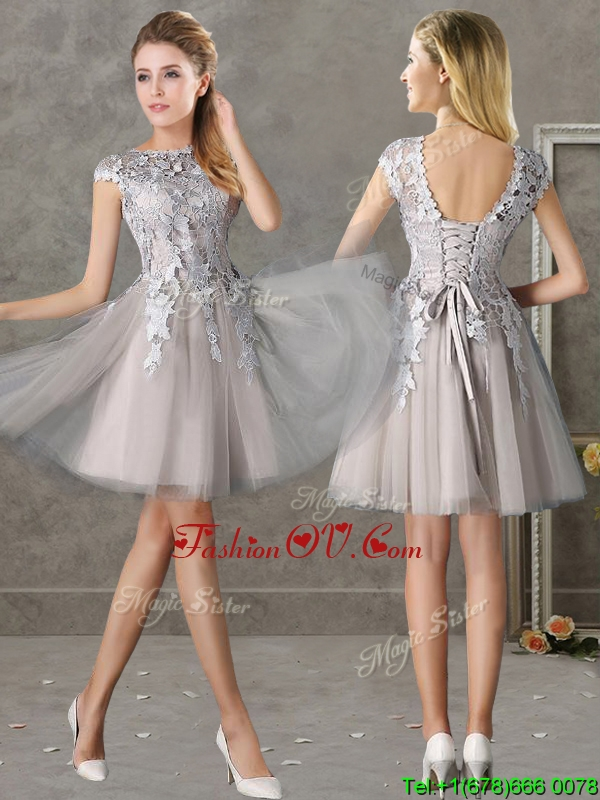 Most Popular Bateau Cap Sleeves Grey Bridesmaid Dress with Lace
