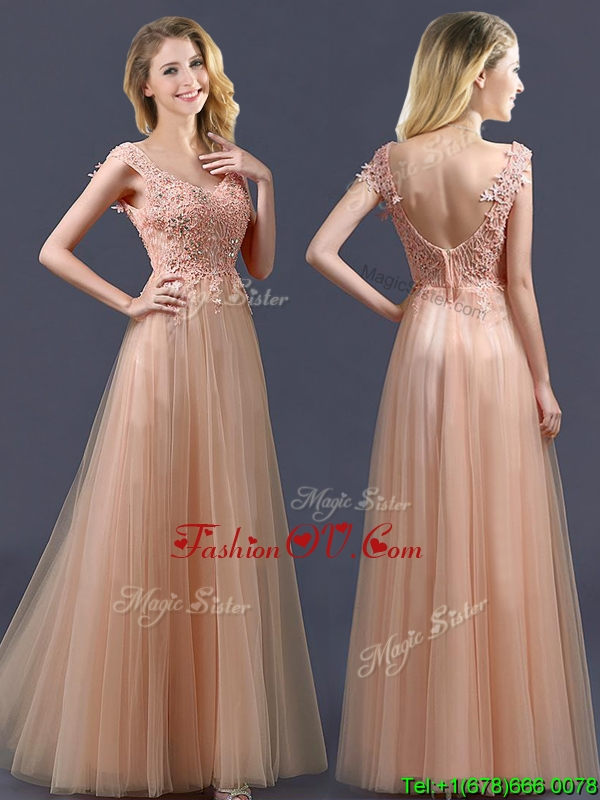 Top Selling V Neck Long Bridesmaid Dress with Appliques and Beading