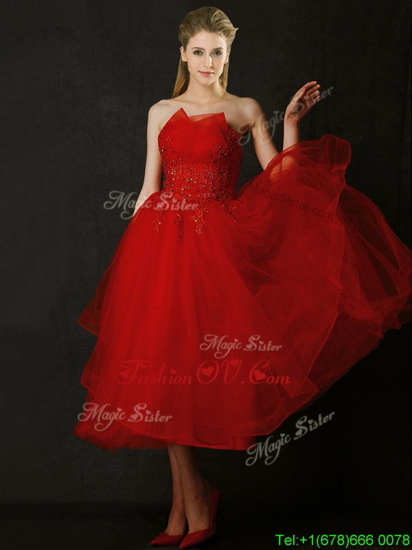 2016 Elegant Tea Length Applique Red Bridesmaid Dress with Asymmetrical Neckline