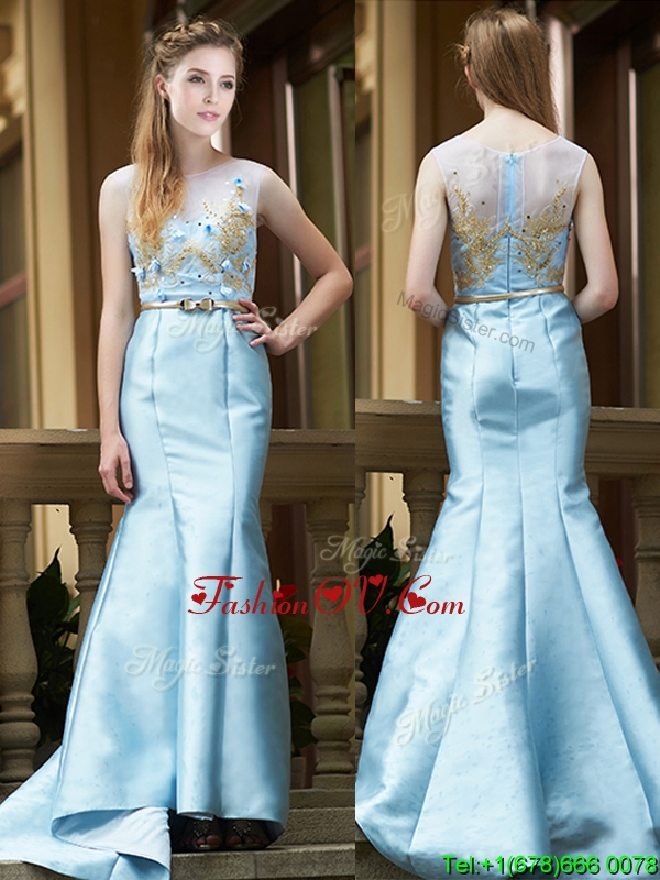 2016 Modest Mermaid Applique Brush Train Prom Dresses in Light Blue
