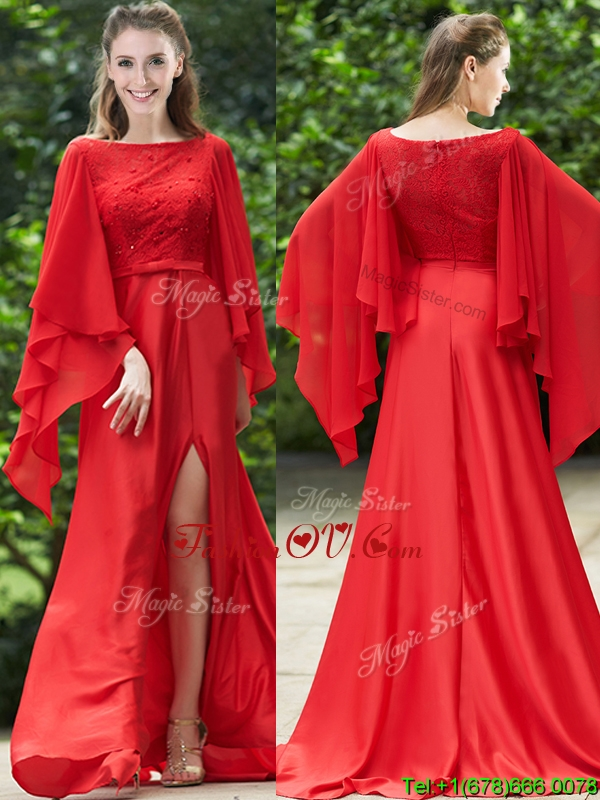 2016 Pretty Bateau Long Sleeves Red Prom Dresses with Beading and High