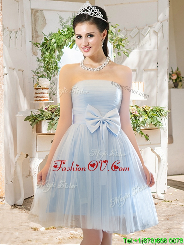 Elegant A Line Strapless Bowknot Short Prom Dresses in Light Blue