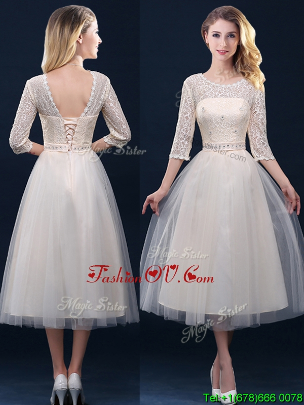 Hot Sale Laced and Applique Champagne Prom Dresses in Tea Length