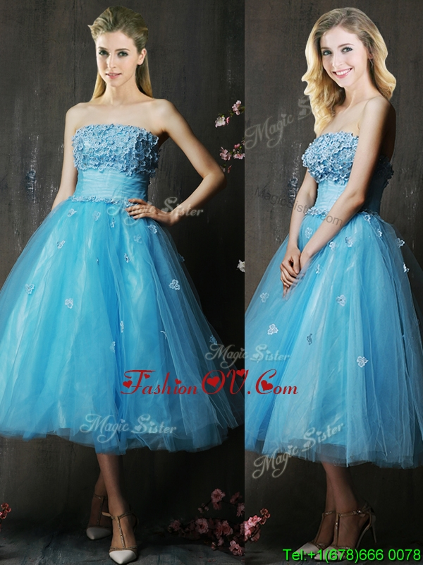 Lovely Strapless Applique Bust Baby Blue Prom Dresses in Tea Length