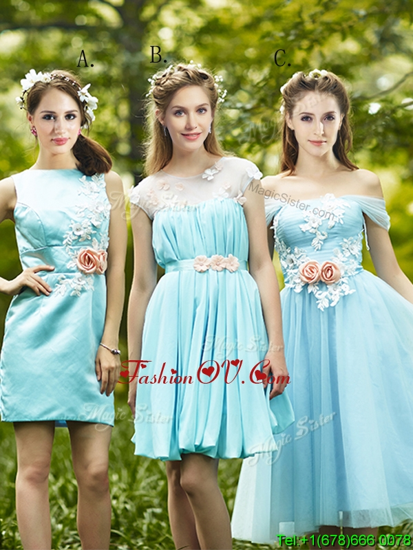 Most Popular Light Blue Prom Dresses with Appliques for Spring