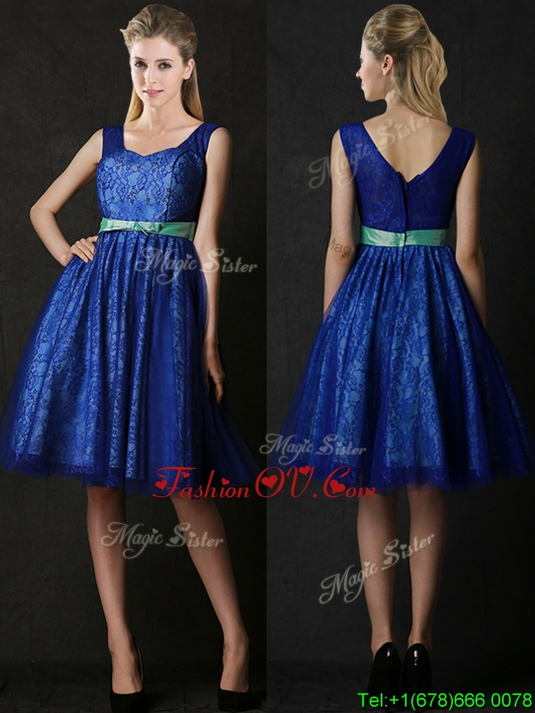 New Arrivals Belted and Laced Blue Prom Dresses in Knee Length