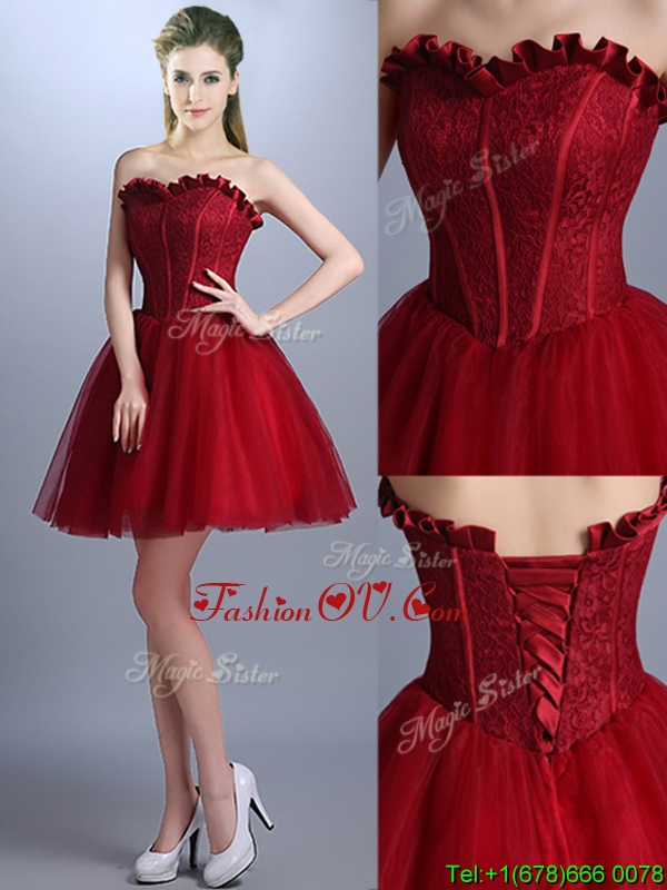 New Arrivals Laced Mini Length Prom Dresses in Wine Red