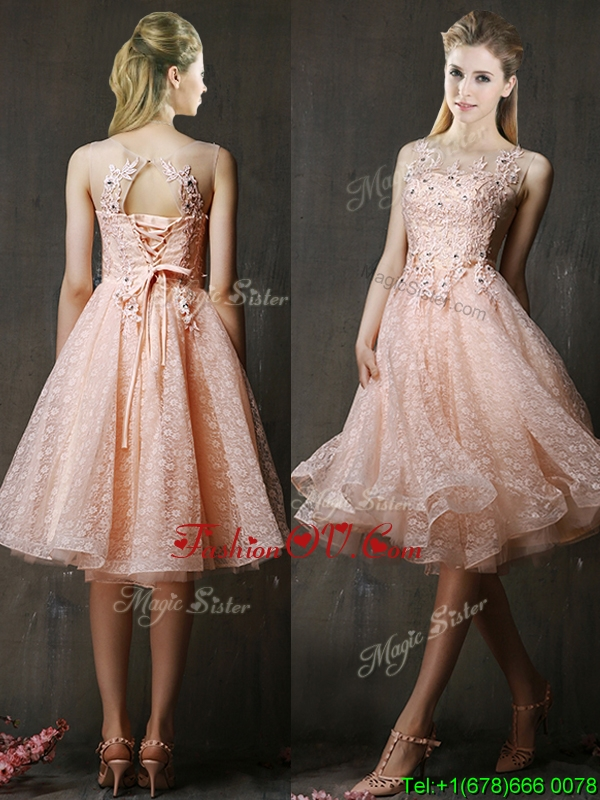See Through Beaded and Applique Peach Prom Dresses with Polka Dot