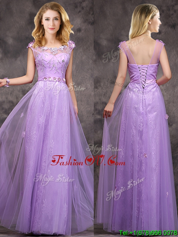 Affordable New Arrivals Beaded and Applique Long Bridesmaid Dress in Lavender